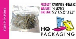 """14 grams in 5.5"""" x 5.25"""" bag"""